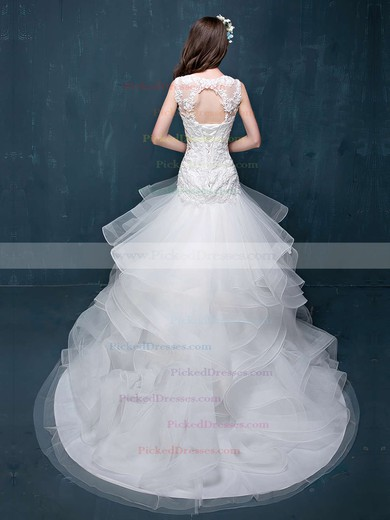 Fabulous Trumpet/Mermaid Scoop Neck Organza Tulle Appliques Lace Court Train Open Back Wedding Dresses #PDS00022860