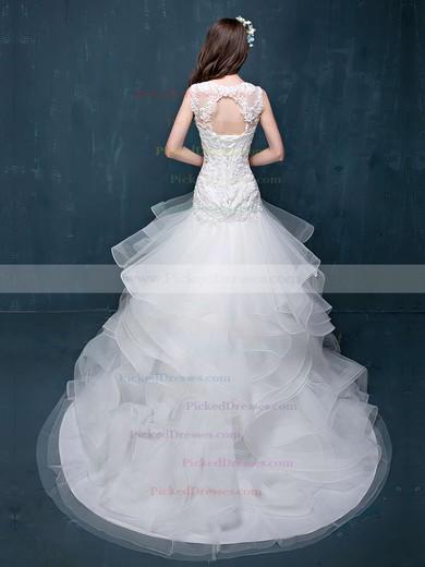 Fabulous Trumpet/Mermaid Scoop Neck Organza Tulle Appliques Lace Court Train Open Back Wedding Dresses #PDS00022860
