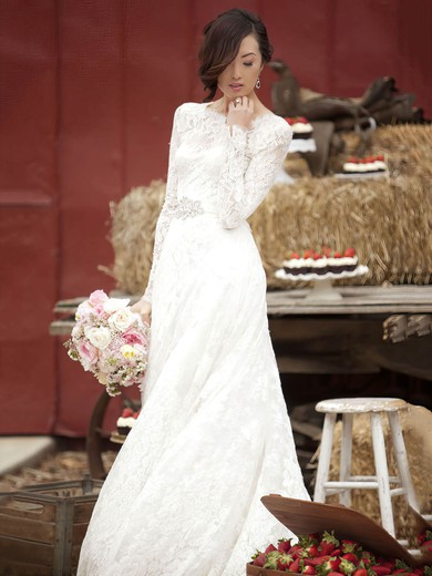 Newest A-line Scoop Neck Lace Sashes / Ribbons Floor-length Long Sleeve Wedding Dresses #PDS00022862