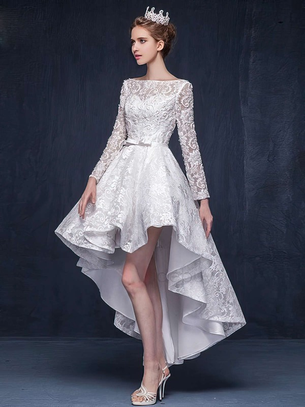 A-line Scoop Neck Lace Beading Asymmetrical Long Sleeve High Low Different Wedding Dresses #PDS00022863