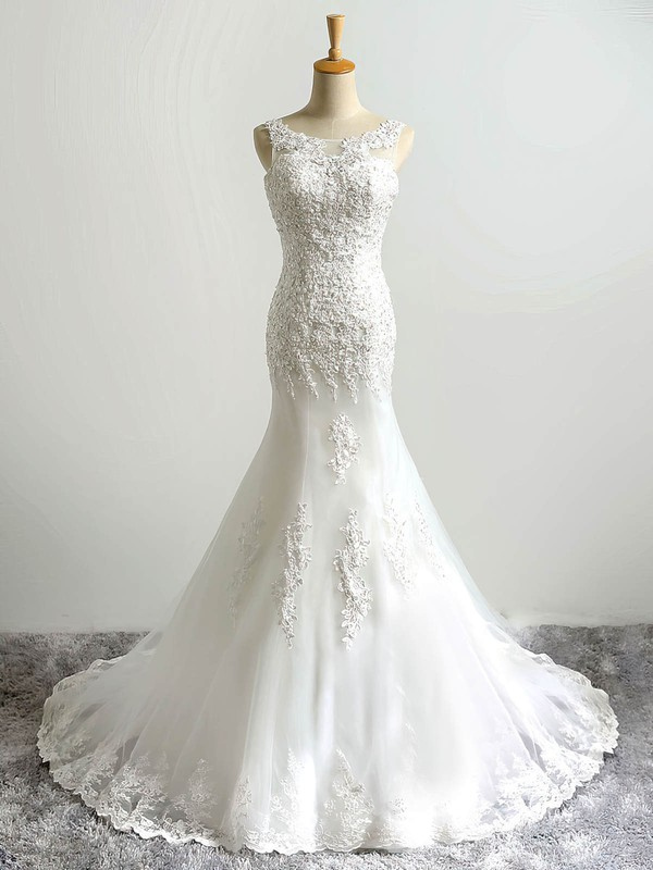 Wholesale Trumpet/Mermaid Scoop Neck Tulle with Sequins Sweep Train Lace-up Wedding Dresses #PDS00022864