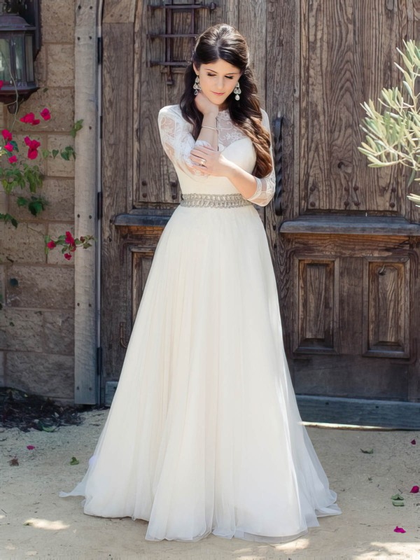 A-line Scoop Neck Tulle Appliques Lace Floor-length 3/4 Sleeve Beautiful Wedding Dresses #PDS00022865
