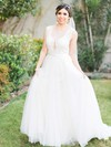 A-line Scoop Neck Tulle with Sashes / Ribbons Sweep Train New Style Wedding Dresses #PDS00022866