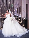 New Arrival Ball Gown Strapless White Tulle Ruffles Court Train Backless Wedding Dresses #PDS00022867