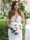 Trumpet/Mermaid Scoop Neck Tulle with Ruffles Sweep Train Sexy Wedding Dresses #PDS00022868