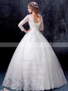 Ball Gown V-neck White Tulle Appliques Lace Floor-length 3/4 Sleeve Prettiest Wedding Dresses #PDS00022871