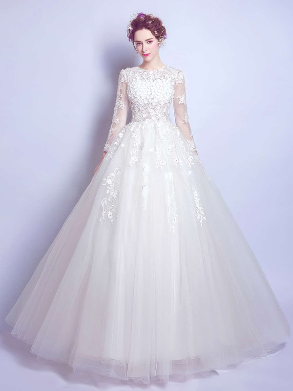 Famous Ball Gown Scoop Neck Tulle Appliques Lace Floor-length Long Sleeve Wedding Dresses #PDS00022872