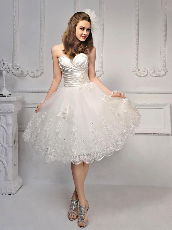 Princess Satin Lace Sweetheart Beading Lace-up Knee-length Wedding Dress #PDS00017014