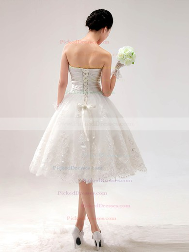 Princess Satin Lace Sweetheart Beading Lace-up Knee-length Wedding Dress #PDS00017014