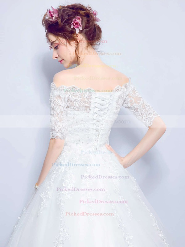Sweet Ball Gown Off-the-shoulder Tulle Appliques Lace Floor-length 1/2 Sleeve Wedding Dresses #PDS00022873