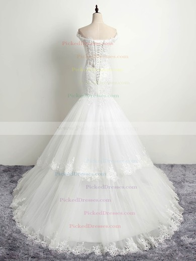 Trumpet/Mermaid Scoop Neck Tulle with Appliques Lace Sweep Train Affordable Wedding Dresses #PDS00022874