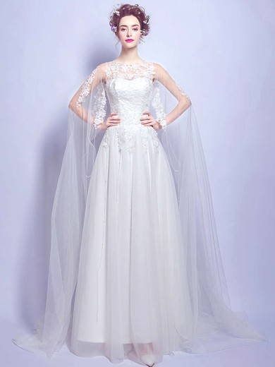 A-line Scoop Neck Tulle with Appliques Lace Floor-length Fabulous Wedding Dresses #PDS00022875