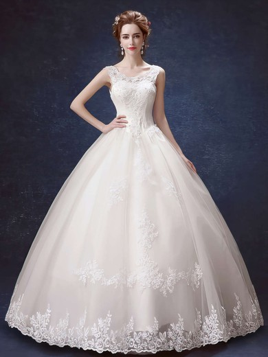 Ball Gown Scoop Neck Satin Tulle with Bow Floor-length Lace-up Elegant Wedding Dresses #PDS00022877