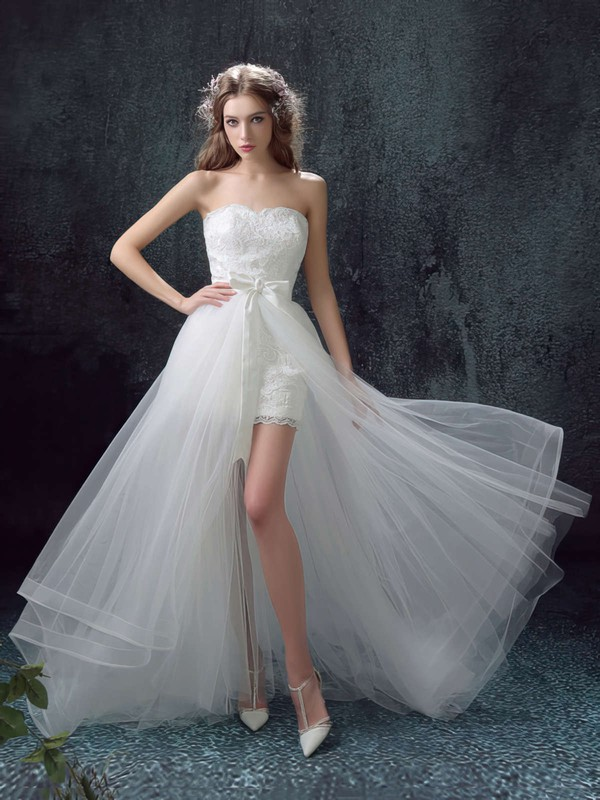 A-line Sweetheart Organza Tulle Appliques Lace Asymmetrical New Style Wedding Dresses #PDS00022878