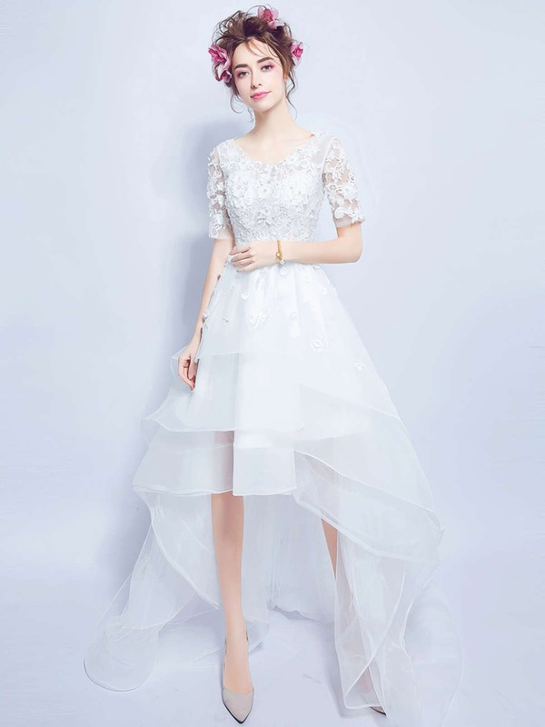 Unique A-line Scoop Neck Organza Tulle Appliques Lace Asymmetrical 1/2 Sleeve High Low Wedding Dresses #PDS00022880
