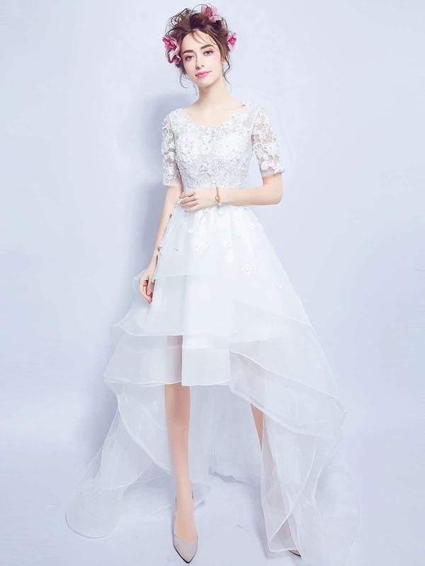 Unique A-line Scoop Neck Organza Tulle Appliques Lace Asymmetrical 1/2 Sleeve High Low Wedding Dresses #PDS00022880