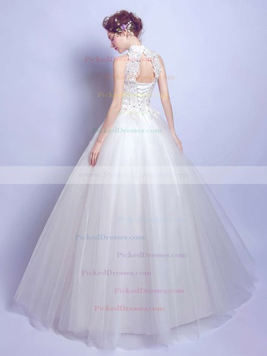 Ball Gown High Neck Tulle Appliques Lace Floor-length Open Back Modest Wedding Dresses #PDS00022881