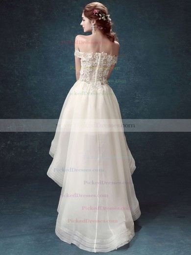 Different A-line Off-the-shoulder Organza Tulle Appliques Lace Asymmetrical High Low Wedding Dresses #PDS00022882