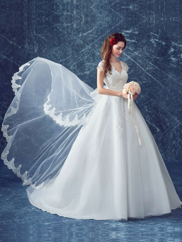 Ball Gown V-neck Tulle Appliques Lace Court Train Cap Straps Beautiful Wedding Dresses #PDS00022883