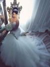 Amazing Trumpet/Mermaid V-neck Tulle with Beading Court Train Backless Wedding Dresses #PDS00022885