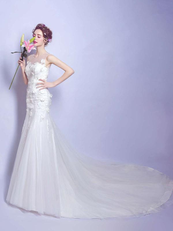 Classy Trumpet/Mermaid Scoop Neck Tulle Appliques Lace Court Train Open Back Wedding Dresses #PDS00022886