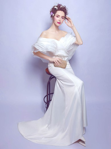 Trumpet/Mermaid Off-the-shoulder Organza Silk-like Satin Ruffles Sweep Train Latest Wedding Dresses #PDS00022887