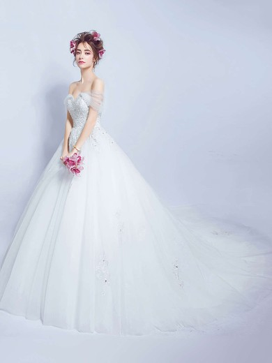 Glamorous Ball Gown Off-the-shoulder Tulle with Beading Court Train Backless Wedding Dresses #PDS00022888