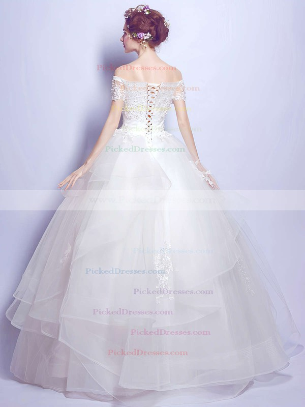 Sweet Ball Gown Off-the-shoulder Organza Tulle Pearl Detailing Floor-length Short Sleeve Wedding Dresses #PDS00022889