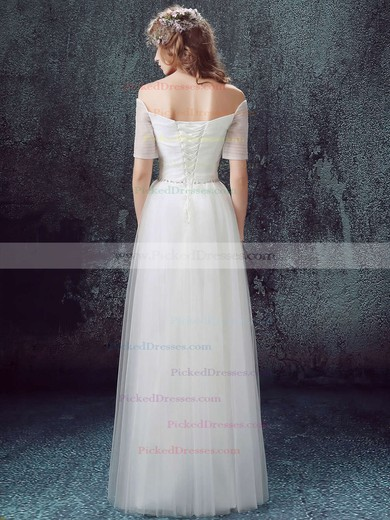 Famous A-line Off-the-shoulder Tulle with Ruffles Floor-length Short Sleeve Wedding Dresses #PDS00022890