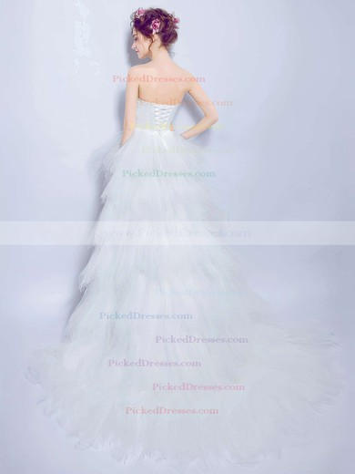 New Arrival A-line Sweetheart Tulle with Beading Asymmetrical High Low Wedding Dresses #PDS00022891