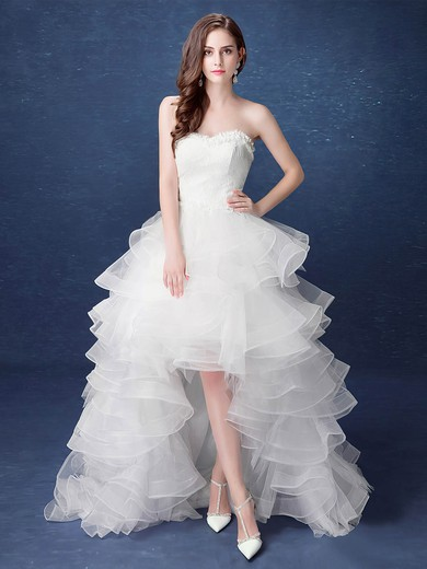A-line Sweetheart Organza with Tiered Asymmetrical High Low Exclusive Wedding Dresses #PDS00022892