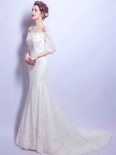 Fabulous Trumpet/Mermaid Off-the-shoulder Lace with Beading Sweep Train 3/4 Sleeve Wedding Dresses #PDS00022893