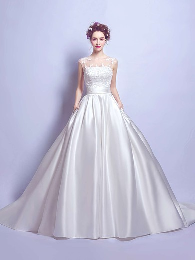 Ball Gown Scoop Neck Satin Tulle with Appliques Lace Court Train Classic Wedding Dresses #PDS00022894