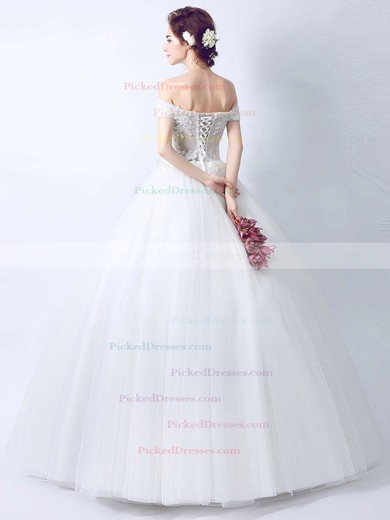 Ball Gown Off-the-shoulder Tulle with Appliques Lace Floor-length Latest Wedding Dresses #PDS00022895