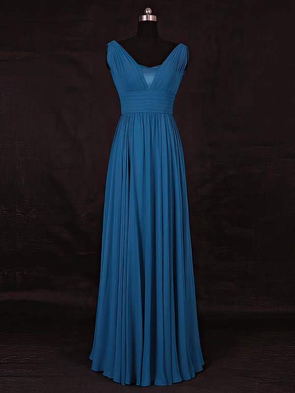 A-line V-neck Floor-length Chiffon with Ruffles Bridesmaid Dresses #PDS01013115