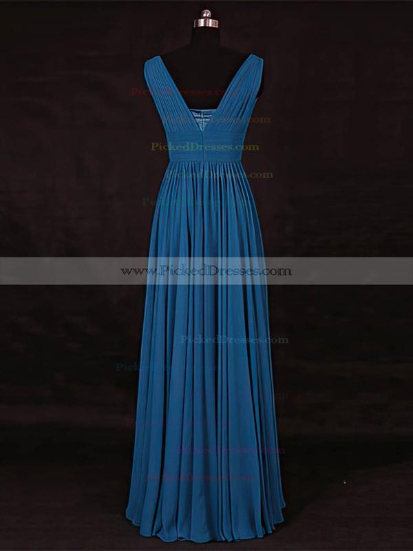 A-line V-neck Floor-length Chiffon with Ruffles Bridesmaid Dresses #PDS01013115