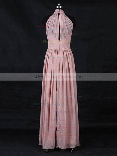 A-line High Neck Floor-length Chiffon with Ruffles Bridesmaid Dresses #PDS01013116