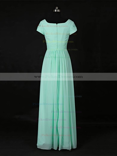 A-line Scoop Neck Floor-length Chiffon with Ruffles Bridesmaid Dresses #PDS01013118