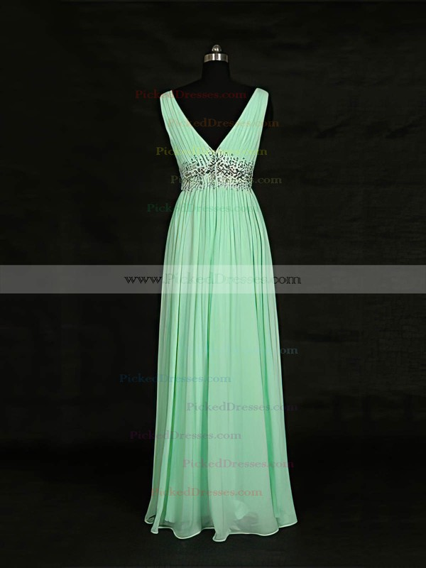 A-line V-neck Floor-length Chiffon with Beading Bridesmaid Dresses #PDS01013119
