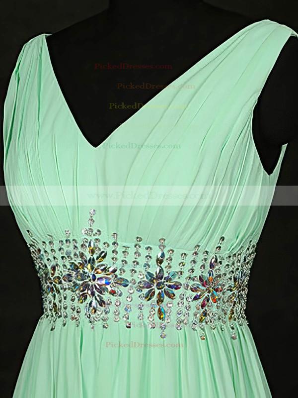 A-line V-neck Floor-length Chiffon with Beading Bridesmaid Dresses #PDS01013119