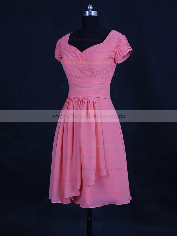 A-line V-neck Short/Mini Chiffon with Ruffles Bridesmaid Dresses #PDS01013120