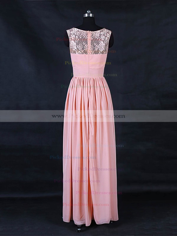 A-line Scoop Neck Floor-length Lace Chiffon with Ruffles Bridesmaid Dresses #PDS01013123