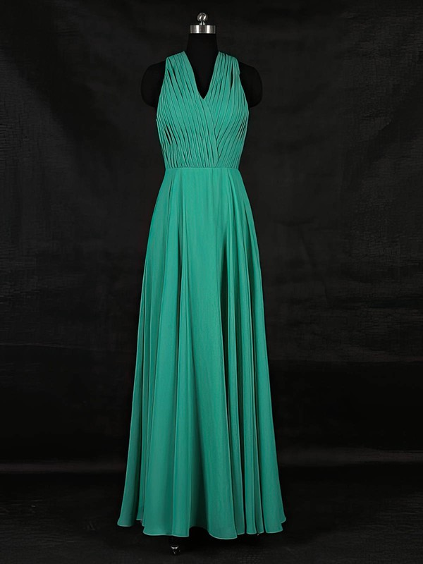 A-line V-neck Floor-length Chiffon with Ruffles Bridesmaid Dresses #PDS01013124