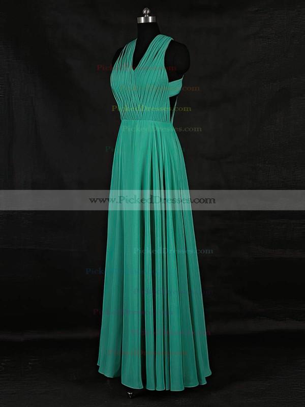 A-line V-neck Floor-length Chiffon with Ruffles Bridesmaid Dresses #PDS01013124