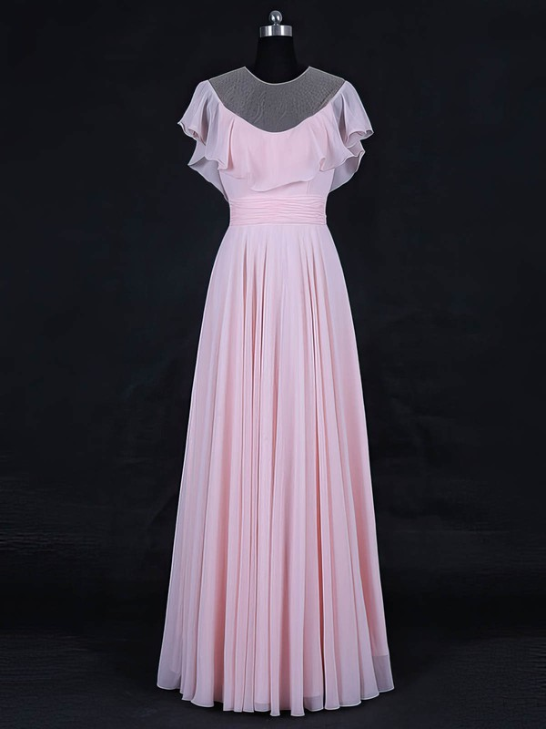 A-line Scoop Neck Floor-length Tulle Chiffon with Ruffles Bridesmaid Dresses #PDS01013125