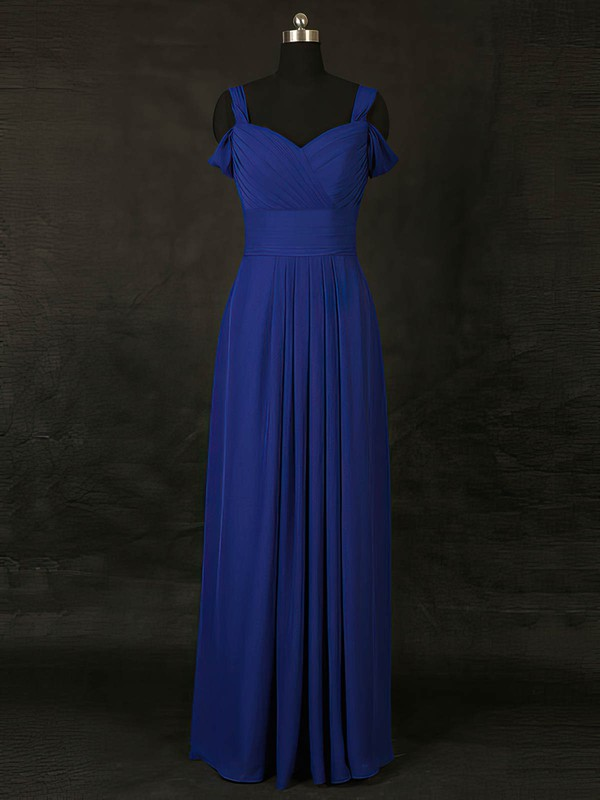 A-line V-neck Floor-length Chiffon with Ruffles Bridesmaid Dresses #PDS01013127