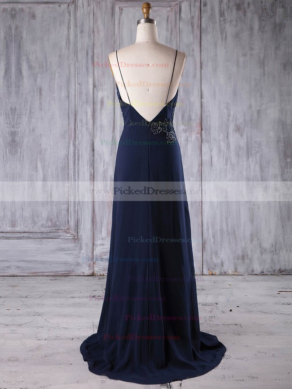 A-line V-neck Sweep Train Chiffon with Appliques Lace Bridesmaid Dresses #PDS01013173