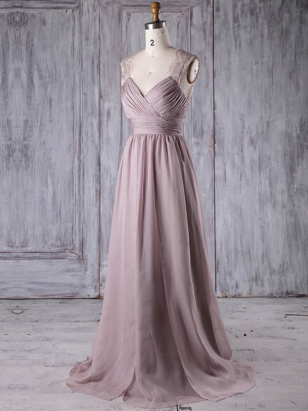 A-line V-neck Sweep Train Lace Chiffon with Ruffles Bridesmaid Dresses #PDS01013174