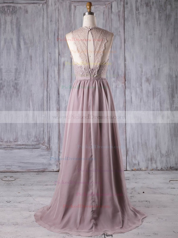 A-line Scoop Neck Sweep Train Lace Chiffon with Sashes / Ribbons Bridesmaid Dresses #PDS01013175