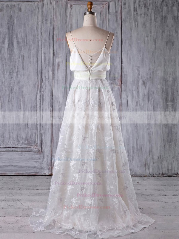 A-line V-neck Sweep Train Lace with Sashes / Ribbons Bridesmaid Dresses #PDS01013176